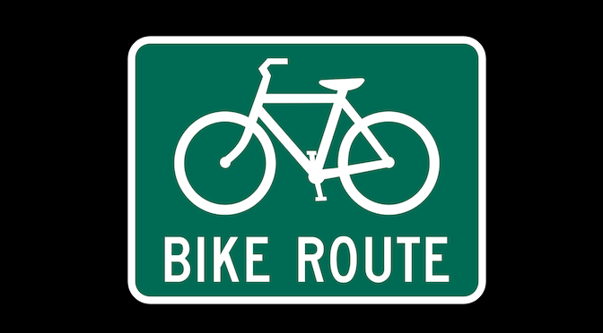 Bike Route Sign with black